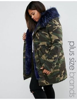 boohoo-plus-contrast-faux-fur-parka by boohoo