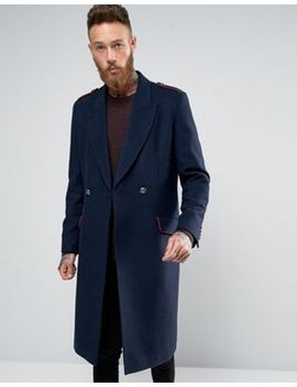 asos-wool-mix-overcoat-with-military-styling-in-navy by asos