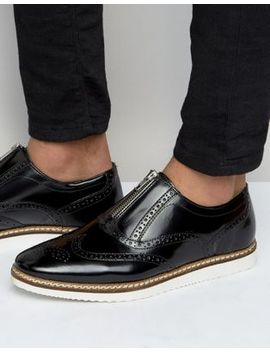 asos-brogue-shoes-in-black-leather-with-center-zip by asos