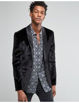 asos-skinny-velvet-blazer-in-black by asos