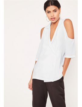 white-blazer-cold-shoulder-blouse by missguided