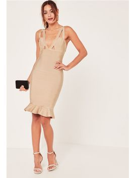 nude-premium-bandage-frill-hem-midi-dress by missguided