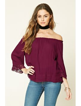 crochet-trimmed-woven-top by forever-21