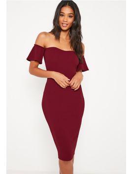 burgundy-bardot-bodycon-midi-dress by missguided