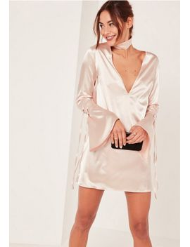 nude-2-piece-choker-neck-plunge-satin-shift-dress by missguided