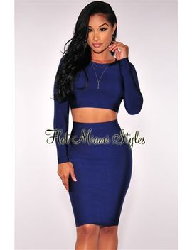 navy-blue-long-sleeves-bandage-two-piece-set by hot-miami-style