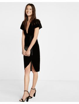 velvet-tie-waist-plunge-midi-dress by express