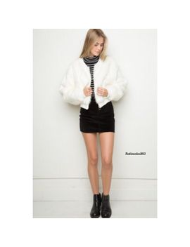 brandy-melville-white-fiona-fur-bomber-jacket   nwt by brandy-melville