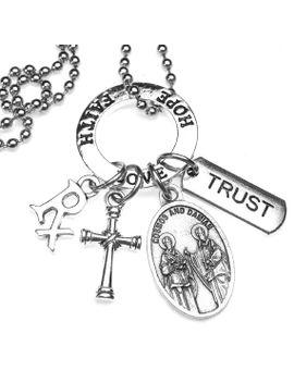 pharmacists-druggists-patron-saints-cosmas-&-damian-catholic-holy-medal-charm-necklace,-rx-charm,-trust, by 12starsjewelry
