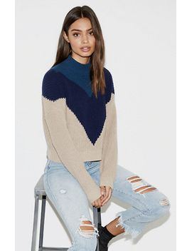 kendall-&-kylie-chevron-mock-neck-pullover-sweater-at by kendall-&-kylie