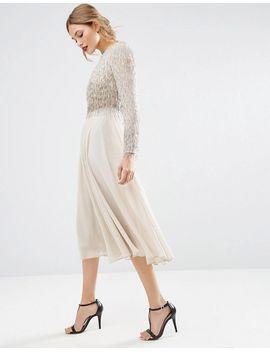 asos-embellished-tassle-long-sleeve-midi-dress by asos-collection