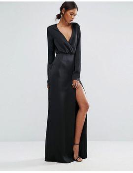 ttya-black-heather-long-sleeve-wrap-front-maxi-dress-with-thigh-split by ttya