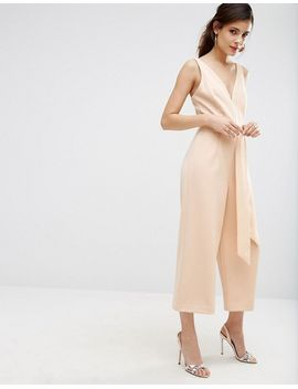 asos-premium-structured-plunge-jumpsuit-with-tie-belt by asos-collection
