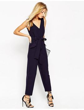 asos-jumpsuit-with-v-neck-and-obi-tie-belt by asos-collection