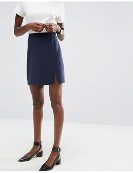 asos-a-line-mini-skirt-with-split-in-crepe by asos-collection