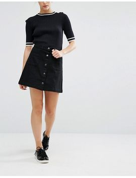 monki-button-up-skirt by monki