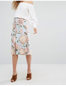 warehouse-pom-pom-floral-print-skirt by warehouse