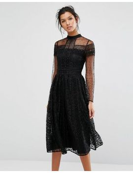 frock-and-frill-high-neck-lace-midi-dress-with-bead-detail by -frock-and-frill