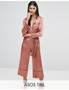 asos-tall-pyjama-style-jumpsuit-in-satin by asos-tall