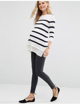 asos-maternity-breton-stripe-jumper-with-button by asos-maternity