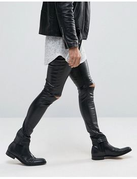 asos-meggings-in-faux-leather-with-knee-rips by asos