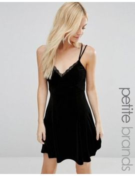 new-look-petite-lace-trim-velvet-slip-dress by new-look-petite