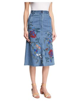 marisol-embroidered-denim-midi-skirt,-vinde by tibi