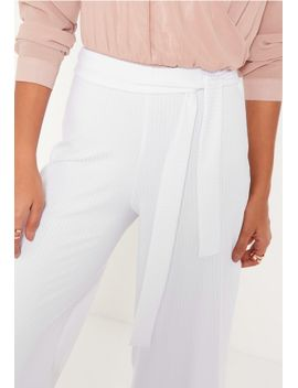 white-tie-waist-ribbed-culottes by missguided