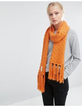 cheap-monday-oversized-knitted-scarf-with-tassels-in-orange by -cheap-monday-
