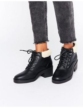new-look-lace-up-work-boots-with-borg-lining by new-look
