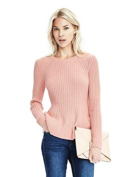 italian-cashmere-blend-flared-ribbed-sweater by banana-repbulic
