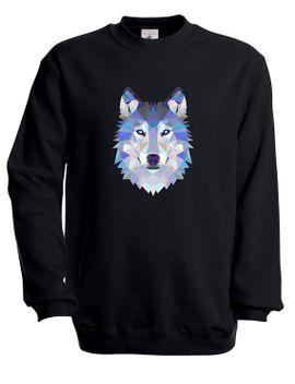 unisex-wolf-head-geometric-abstract-triangle-art-top-jumper-sweatshirt--gray-black-navy- by untd
