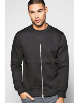 crew-neck-sweatshirt-with-front-zip by boohoo