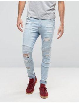 asos-–-sehr-enge-skinny-jeans-im-biker-stil-mit-bleach-waschung-und-zierrissen by asos