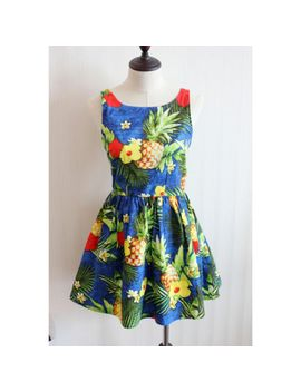 free-shipping-2014-british-original-single-family-retro-tropical-hibiscus-big-pineapple-big-swing-vest-dress-tutu-umbrella by ali-express