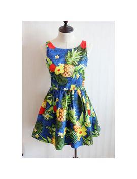 free-shipping-2014-british-original-single-family-retro-tropical-hibiscus-big-pineapple-big-swing-vest-dress-tutu-umbrella by ali-express