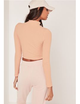 ribbed-high-neck-crop-top-nude by missguided