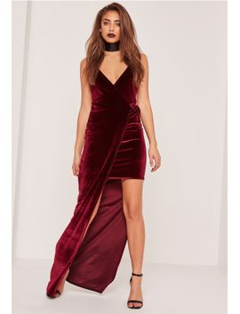 burgundy-velvet-strappy-side-split-maxi-dress by missguided