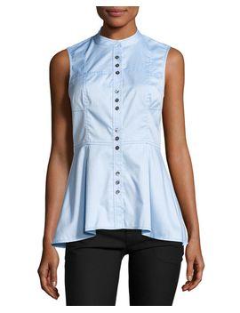 sleeveless-poplin-peplum-top,-oxford-blue by derek-lam-10-crosby