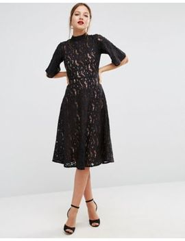 asos-kimono-sleeve-midi-skater-dress-in-lace by asos-collection