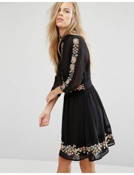 miss-selfridge-embroidered-floral-skater-dress by miss-selfridge