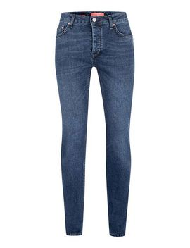 premium-mid-wash-blue-stretch-skinny-selvedge-jeans by topman