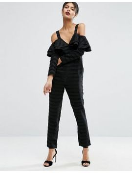 asos-jumpsuit-with-ruffle-cold-shoulder by asos-collection