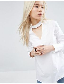 asos-white-v-cut-out-shirt-with-button-down-back by asos-white