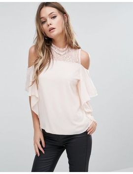 tfnc-cold-shoulder-frill-top-with-lace-trim by tfnc