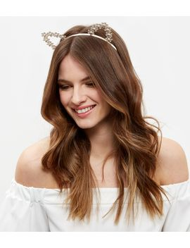 cream-flower-cat-ears-headband by new-look