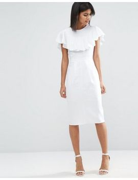 asos-wiggle-dress-in-linen-with-frill-detail by asos-collection