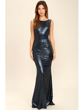 slink-and-wink-matte-navy-blue-sequin-maxi-dress by lulus