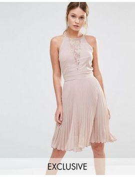 elise-ryan-pleated-mini-dress-with-lace-insert by elise-ryan