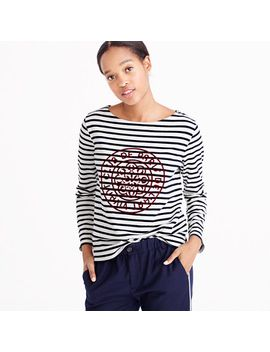 striped-boatneck-t-shirt-with-french-logo by jcrew